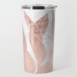 Modern faux Rose gold leaf tropical white marble illustration Travel Mug