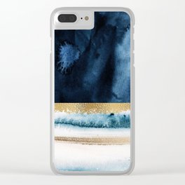 Navy Blue, Gold And White Abstract Watercolor Art Clear iPhone Case