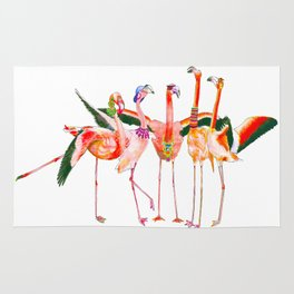A Flamboyance of Flamingos Rug