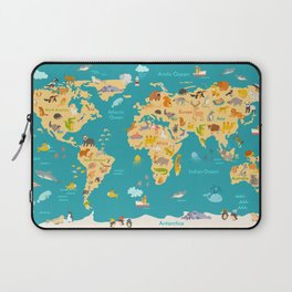 Animal map for kid. World vector poster for children, cute illustrated Laptop Sleeve