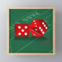 Craps Table & Red Las Vegas Dice Framed Mini Art Print