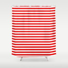 Original Berry Red and White Rustic Horizontal Tent Stripes Shower Curtain