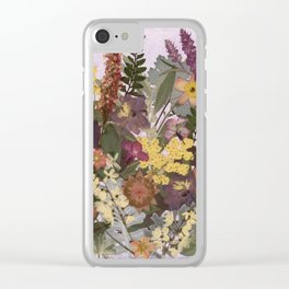 Pressed Flower English Garden Clear iPhone Case
