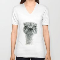 ostrich V-neck T-shirts featuring Ostrich G119 by S-Schukina