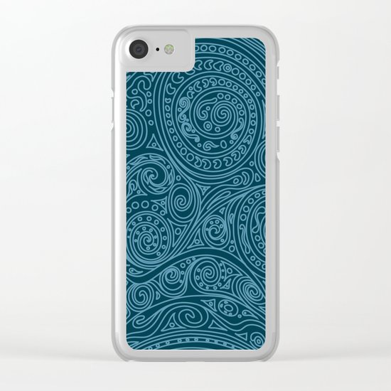 Pattern Spiral Biscay Bay Clear iPhone Case