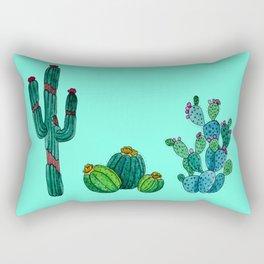 Gouache Watercolor cactus teal background Rectangular Pillow