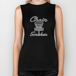 Chain Smoker Disc Golf Funny Biker Tank
