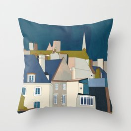 france houses abstract art Throw Pillow