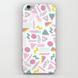 Abstract retro pink teal yellow geometrical 80's pattern iPhone Skin