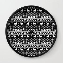 Biewer Terrier fair isle christmas black and white pattern minimal dog breed pet designs Wall Clock