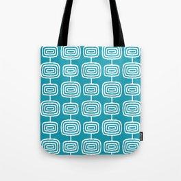 Mid Century Modern Atomic Rings Pattern Turquoise Tote Bag