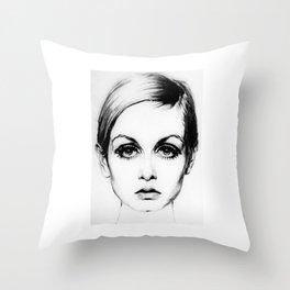 60's Eyelashes Throw Pillow