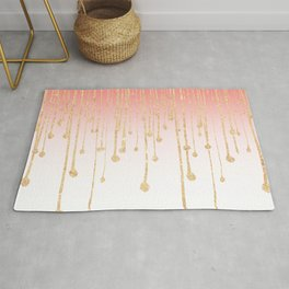 Color block coral faux gold glitter waterdrops ombre Rug