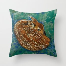 Sleeping Fawn Throw Pillow