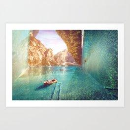 Boat on a river Art Print