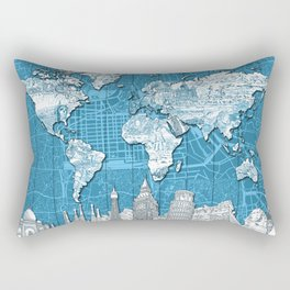 world map city skyline 10 Rectangular Pillow