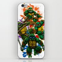 teenage mutant ninja turtles iPhone & iPod Skins featuring Teenage Mutant Ninja Turtles by Magik Tees