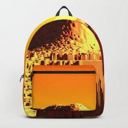Golden mountain monument landscape nature illustration Backpack