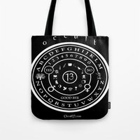 "occult Tote Bags featuring Everette Hartsoe's Occult 13 ""SPIRITBOARD"" by House of Hartsoe"