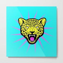 Wild Leopard Star Metal Print
