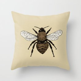 Bumblebee illustration Throw Pillow
