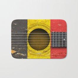 Old Vintage Acoustic Guitar with Belgian Flag Bath Mat