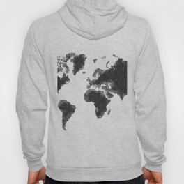 World Map Black Sketch, Map Of The World, Wall Art Poster, Wall Decal, Earth Atlas, Geography Map Hoody