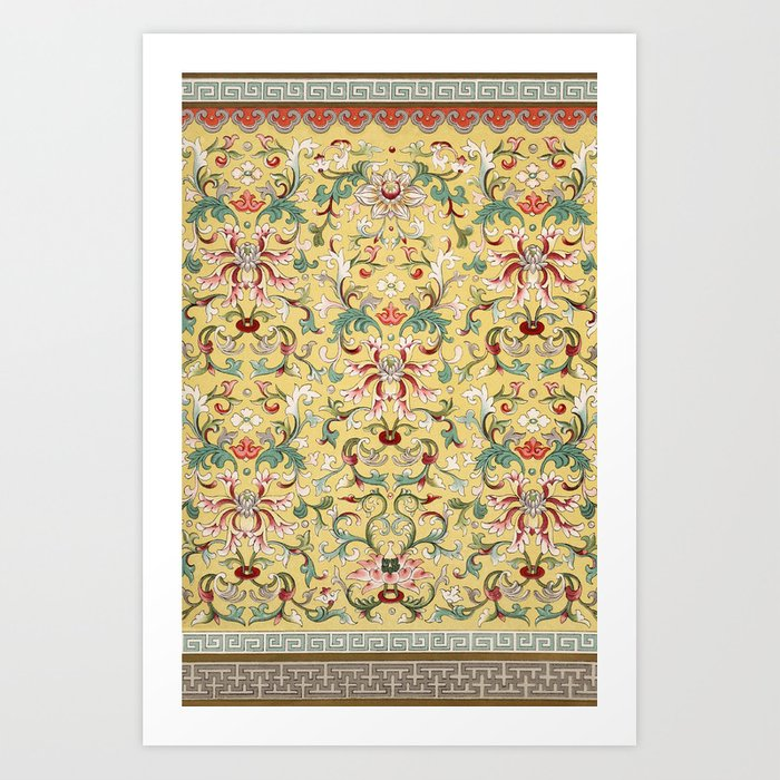 Asian Lotus Flower Pattern In Soft Yellow Antique Illustration Art