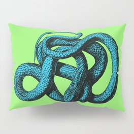 Snek 1 Snake Teal Turquoise Lime Green Pillow Sham