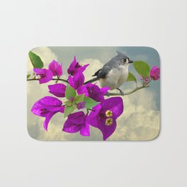 Tufted Titmouse and Purple Bougainvillea Bath Mat