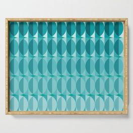 Leaves in the moonlight - a pattern in teal Serving Tray