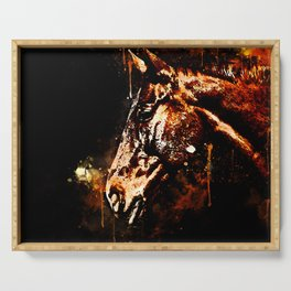 horse splatter watercolor Serving Tray
