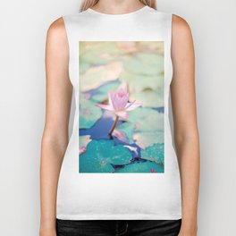 Cute Pink Blooming Lotus Biker Tank