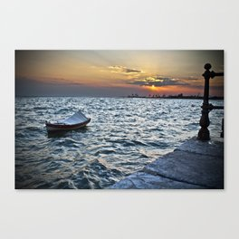 The Boat and the Sunset Canvas Print