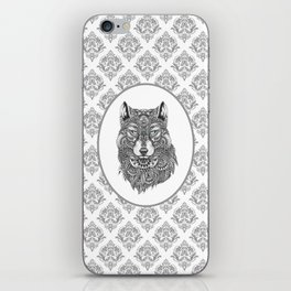 Gray & White Damasks Featuring Wolf Head iPhone Skin