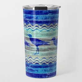 Rustic Navy Blue Coastal Decor Sandpipers Travel Mug