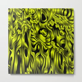 Magical flowing yellow avalanche of lines with dark. Metal Print