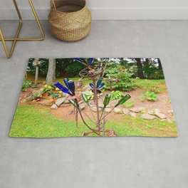 Glass and Steel Garden Art Rug