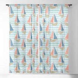 Cute driftwood sailboat on the blue ocean sea pattern. Sheer Curtain