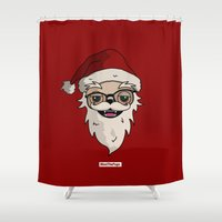 drunk Shower Curtains featuring DRUNK SANTA by MEET THE PUGS