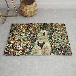 """Gustav Klimt """"Garden Path with Chickens"""" Rug"""