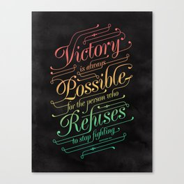 Victory is Possible - a colorful typographic quote by Napoleon Hill about victory and perseverance Canvas Print