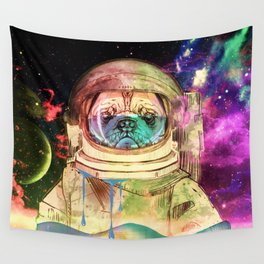Astronaut Pug COLOR Wall Tapestry