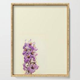 Purple Larkspur Delphinium Flowers Serving Tray