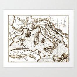 Italy Map Art Print