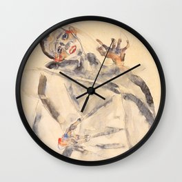 """Egon Schiele """"I Will Gladly Endure for Art and My Loved Ones"""" Wall Clock"""