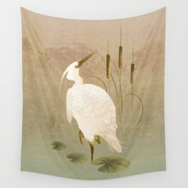 White Heron in Bulrushes Wall Tapestry