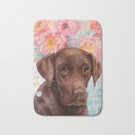 Flowers and Chocolate (chocolate lab dog watercolor portrait painting) Bath Mat