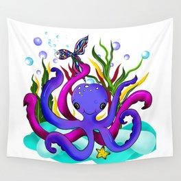 Octopus illustration Wall Tapestry