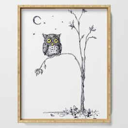 owl in the moonlight under the stars too big for his little tree Serving Tray